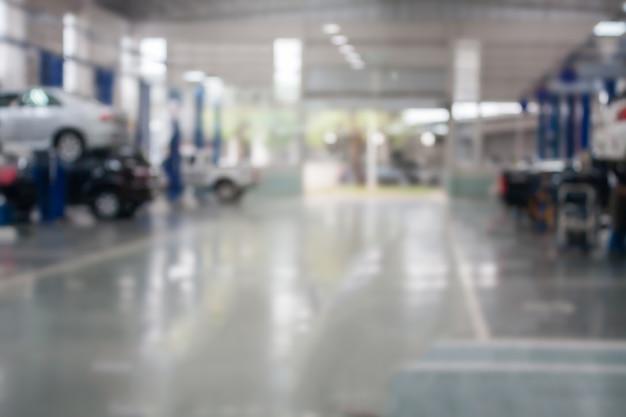 Estação de serviço de reparação de automóveis fundo desfocado