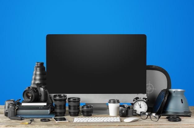 Estação de trabalho de fotógrafo, espaço de trabalho