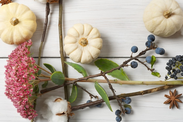 Estação do outono. borda feita de flores secas de outono, abóboras, galhos e folhas de outono, também algodão, cravo e abrunheiro. vista superior em madeira branca, camada plana