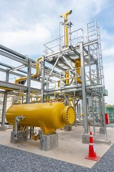 Estação e tanque de medição de gás na usina