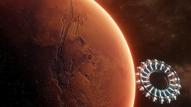Estação espacial científica internacional orbitando o planeta marte