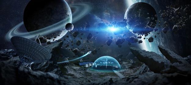 Estação observatório no espaço de renderização em 3d