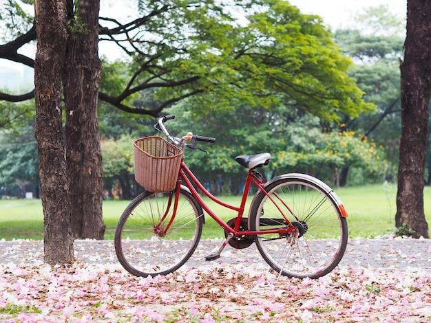 Estacionamento de bicicleta vintage vermelho na trilha