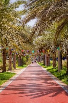 Estacione para caminhadas e esportes em palm jumeirah em dubai