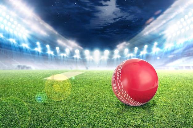 Estádio de críquete com bola em luzes e pisca 3d render