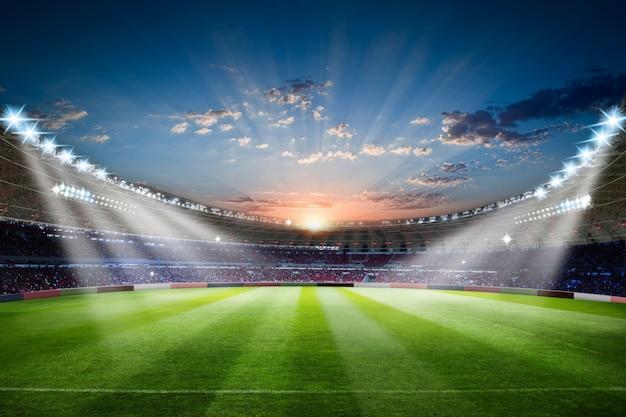 Estádio de futebol, 3d, fazendo, estádio futebol, com, aglomerado, campo, arena