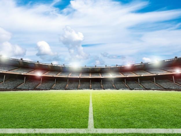 Estádio de futebol de renderização 3d com fundo de campo de futebol