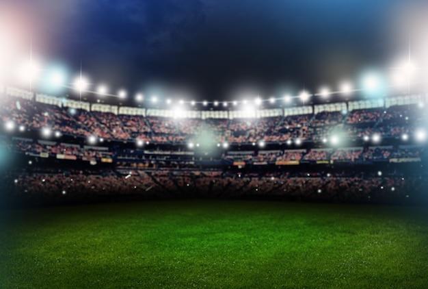 Estádio de futebol iluminado, espaço em branco