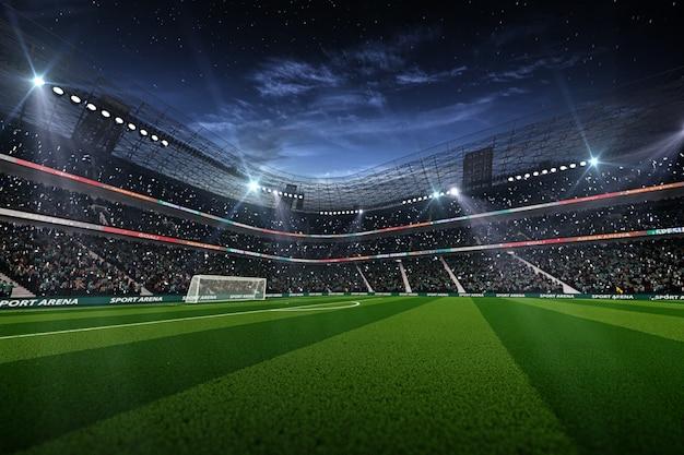 Estádio de futebol vazio à noite renderização 3d