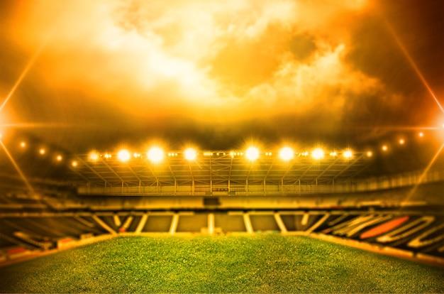 Estádio em luzes e flashes 3d.