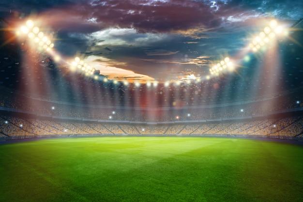 Estádio em luzes e flashes, campo de futebol