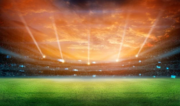 Estádio em luzes e flashes renderização em 3d
