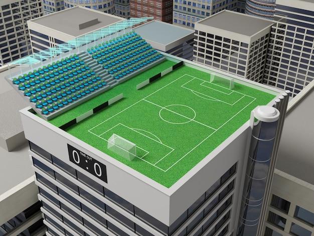 Estádio localizado no telhado verde de um arranha-céu.