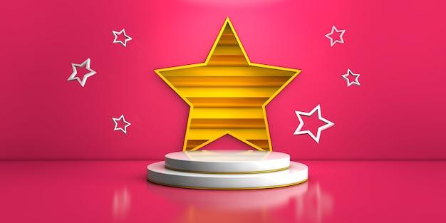 Estágio branco geométrico sobre fundo rosa e estrela amarela para renderização em 3d do conceito de produto