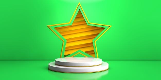 Estágio branco geométrico sobre fundo verde e estrela amarela para renderização em 3d do conceito de produto