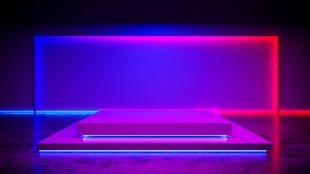 Estágio de retângulo com blackground de luz de neon e piso de concreto, ultravioleta, render 3d
