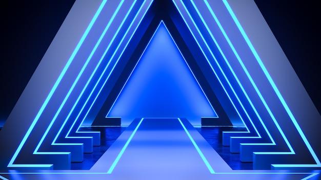 Estágio de triângulo com blackground de luz de néon e piso de concreto, luz azul, render 3d