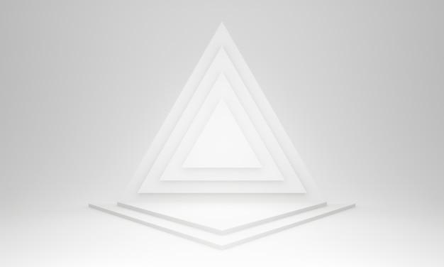 Estágio do triângulo geométrico branco 3d.