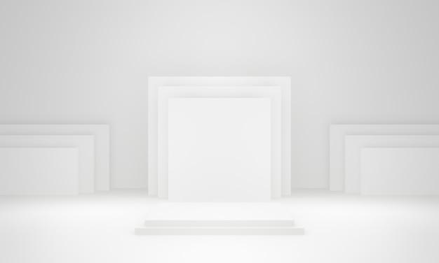 Estágio geométrico branco 3d