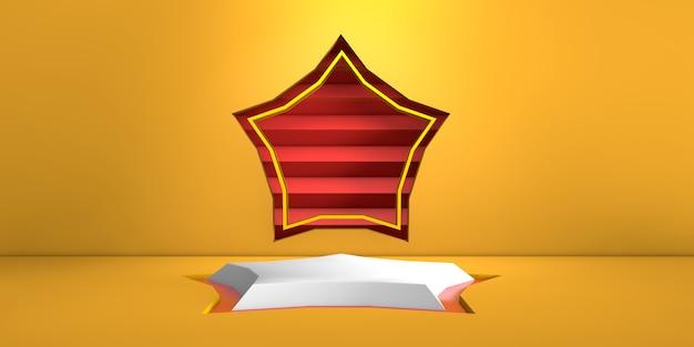 Estágio geométrico de estrela branca sobre fundo amarelo e estrela vermelha na renderização em parede 3d