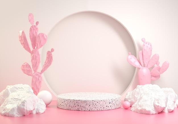 Estágio mínimo com rosa conceito de moda de verão cacto fundo abstrato renderização 3d
