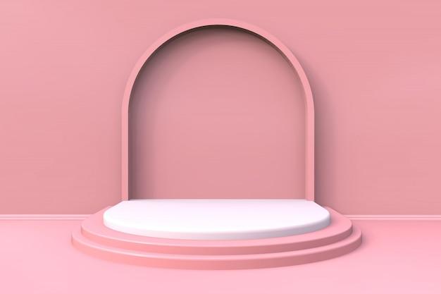 Estágio mínimo da exposição do produto cor-de-rosa com fundo da escada - 3d rendido