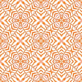 Estampado bonito pronto para têxteis, tecido de biquíni, papel de parede, embrulho. design de verão chique boho laranja opressor. borda verde orgânica na moda. ladrilho orgânico.