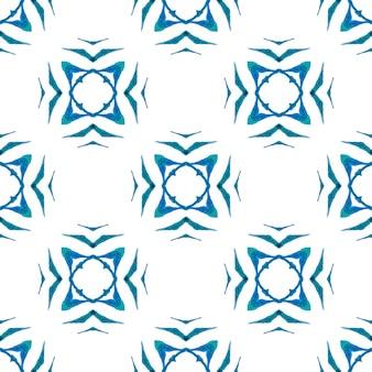 Estampado excepcional pronto para têxteis, tecido de biquíni, papel de parede, embrulho. projeto chique do verão do boho mesmérico azul. padrão sem emenda de medalhão. fronteira sem emenda do medalhão em aquarela.