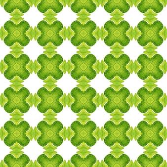 Estampado extraordinário pronto para têxteis, tecido de biquíni, papel de parede, embrulho. projeto chique do verão do boho valioso verde. ladrilho orgânico. borda verde orgânica na moda.