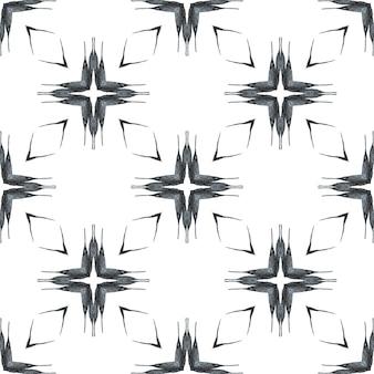 Estampado glamoroso pronto para têxteis, tecido de biquíni, papel de parede, embrulho. design de verão chique boho fantástico preto e branco. repetindo a borda desenhada mão listrada. desenho listrado desenhado à mão.