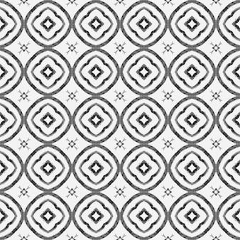 Estampado maravilhoso pronto para têxteis, tecido de biquíni, papel de parede, embrulho. design de verão chique de boho puro preto e branco. borda sem costura tropical desenhada de mão. padrão sem emenda tropical.