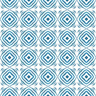 Estampado têxtil pronto a buscar, tecido de biquíni, papel de parede, embrulho. design chique do boho azul alucinante. desenho listrado desenhado à mão. repetindo a borda desenhada mão listrada.
