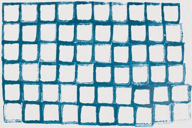 Estampas artesanais de fundo de padrão de grade azul