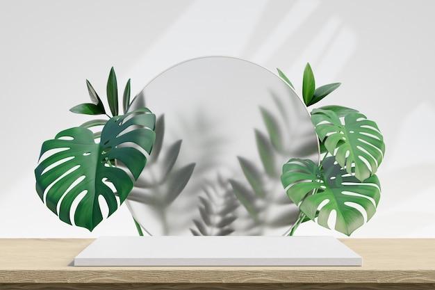 Estande de produtos cosméticos de exibição, pódio branco de madeira com planta de folha verde e vidro do círculo no fundo da mesa de tampo de madeira. ilustração de renderização 3d