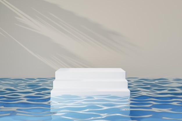 Estande de produtos cosméticos de exibição, pódio de degrau de escada branco na água azul reflete e fundo de sombra de luz solar. ilustração de renderização 3d