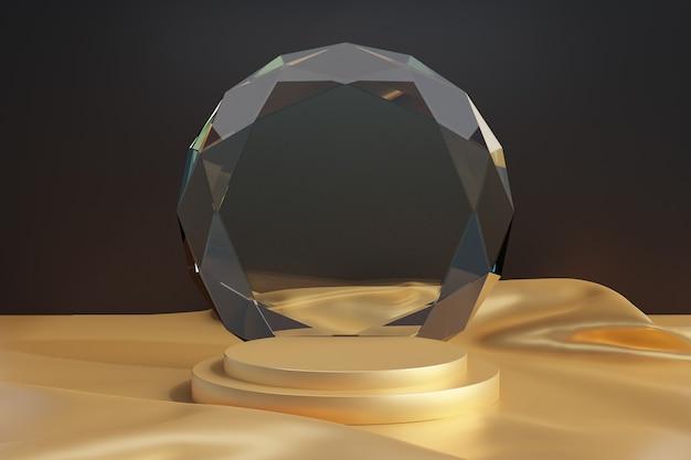 Estande de produtos cosméticos de exibição, pódio de ouro da etapa com vidro de diamante de círculo e piso de ouro de pano em fundo escuro. ilustração de renderização 3d