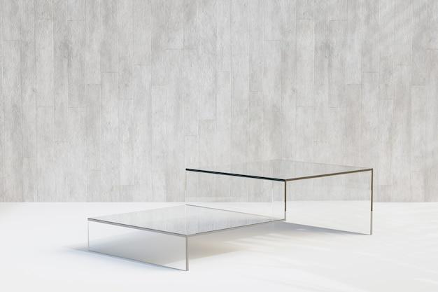 Estande de produtos cosméticos de exibição, pódio de vidro de etapa de bloco com parede de concreto sobre fundo claro. ilustração de renderização 3d