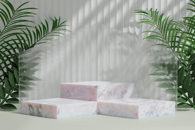 Estande de produtos cosméticos de exibição, pódio em mármore de degraus com folha de palmeira da natureza sobre fundo claro. ilustração de renderização 3d
