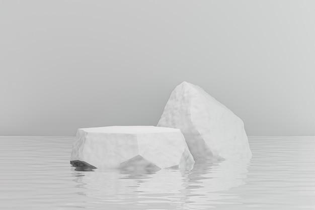 Estande de produtos de exibição de cosméticos, pódio de pedra de rocha branca reflete o fundo da ondulação da água. ilustração de renderização 3d