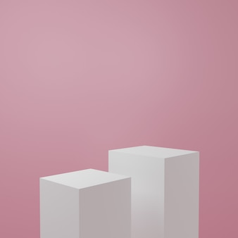 Estande de produtos na sala rosa cena do estúdio para design minimalista do produto, renderização 3d