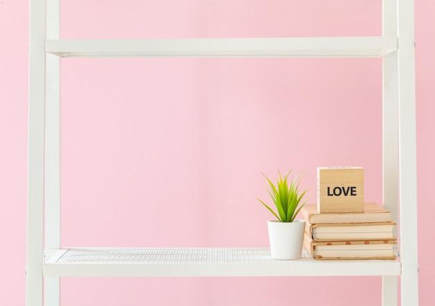 Estante branca com livros e planta contra parede rosa