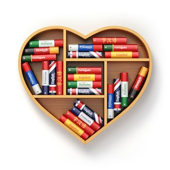 Estante de livros com dicionários em forma de coração