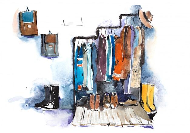 Estantes de loja de roupas e exibição de ilustração em aquarela de roupas