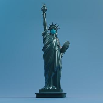 Estátua da liberdade usar máscara de cirurgia. salve eua do coronavirus covid 19. renderização em 3d.