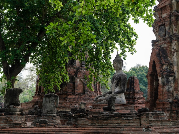 Estátua de buda antigo de meditação com templo em ruínas no templo wat phra mahathat em ayudthaya, tailândia, templo histórico do patrimônio mundial