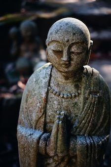 Estátua de buda em oração, religião budista