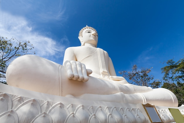 Estátua de buda grande gigante com céu azul na paisagem natural