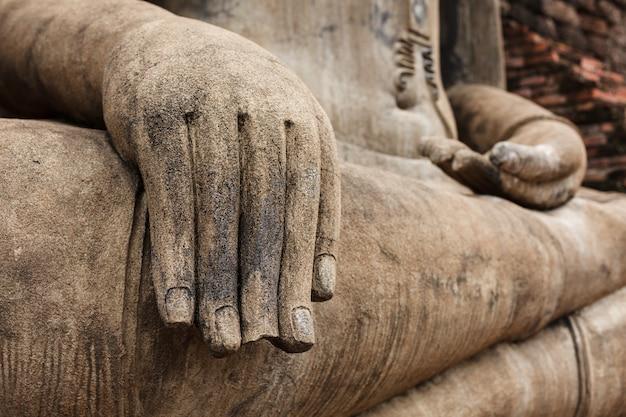 Estátua de buda mão fechar detalhes