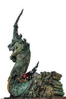 Estátua de dragão de arte branca de fundo na fé da tailândia.