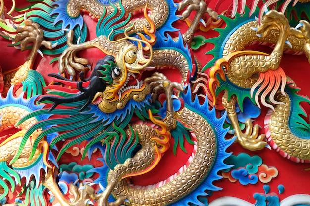 Estátua de dragão no templo chinês